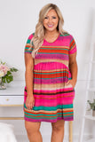 dress, short, short sleeve, babydoll, pockets, flowy, striped, pink, green, yellow, orange, tan, comfy