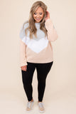 top, sweater, colorblock, gray, blush, knit, bubble sleeve, long sleeve