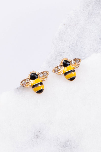earrings, bees, yellow, black, gold, studded earrings, spring, summer