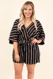 romper, shorts, three quarter sleeve, vneck, wrap top, tie waist, loose, black, red, white, striped, comfy