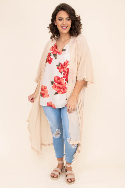 kimono, three quarter sleeve, fringe hems, calf length, sheer, tan, flowy, comfy, outerwear, spring, summer