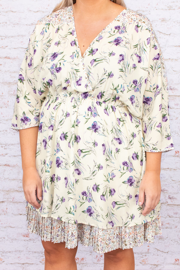 dress, v neck, ruffles, print, floral, three quarter sleeve, figure flattering, flowy, short, above the knee