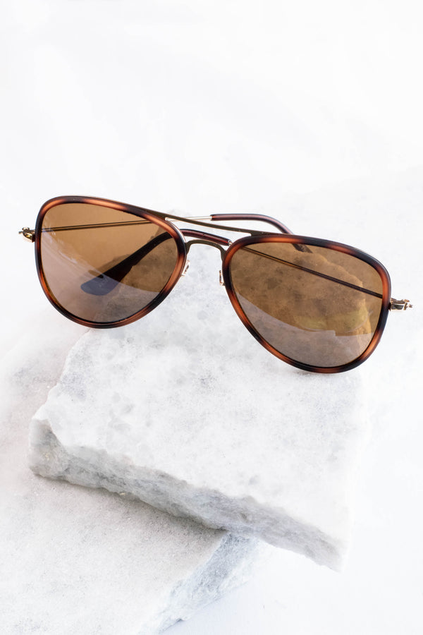 Langley Aviator Sunglasses, Tortoise
