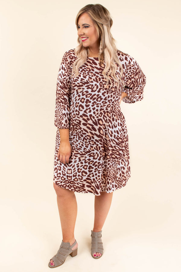 Cool In The Crowd Dress, Brown