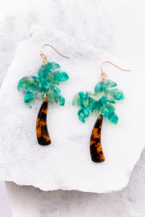 accessories, jewelry, earrings, palm trees, brown, green, tortoise shell, hanging, long, gold accents, spring, summer