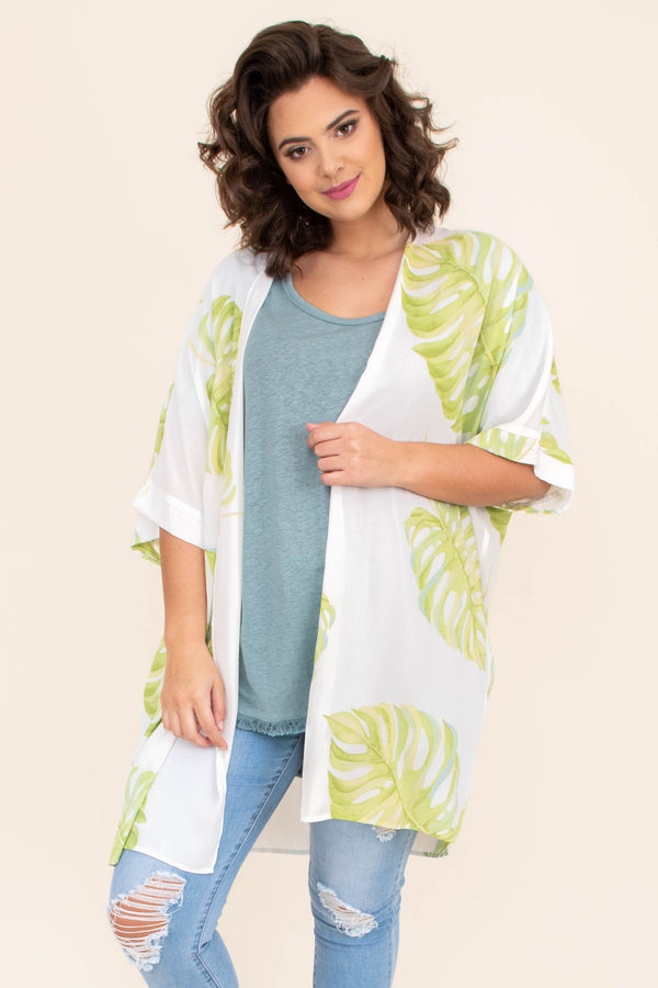 kimono, three quarter sleeve, long, flowy, loose sleeves, white, leaves, green, comfy, outerwear, spring, summer