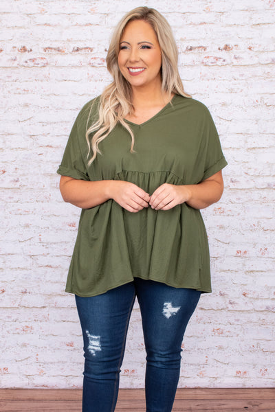 top, basic, babydoll, green, olive, solid, short sleeve, flowy, cute
