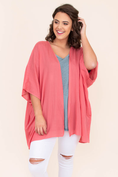 kimono, short sleeve, long, flowy, thin, coral, comfy, outerwear, spring, summer