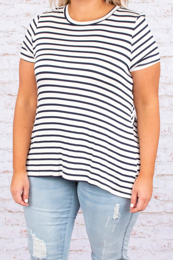 shirt, short sleeve, cut out back, tie back, white, navy, striped, comfy
