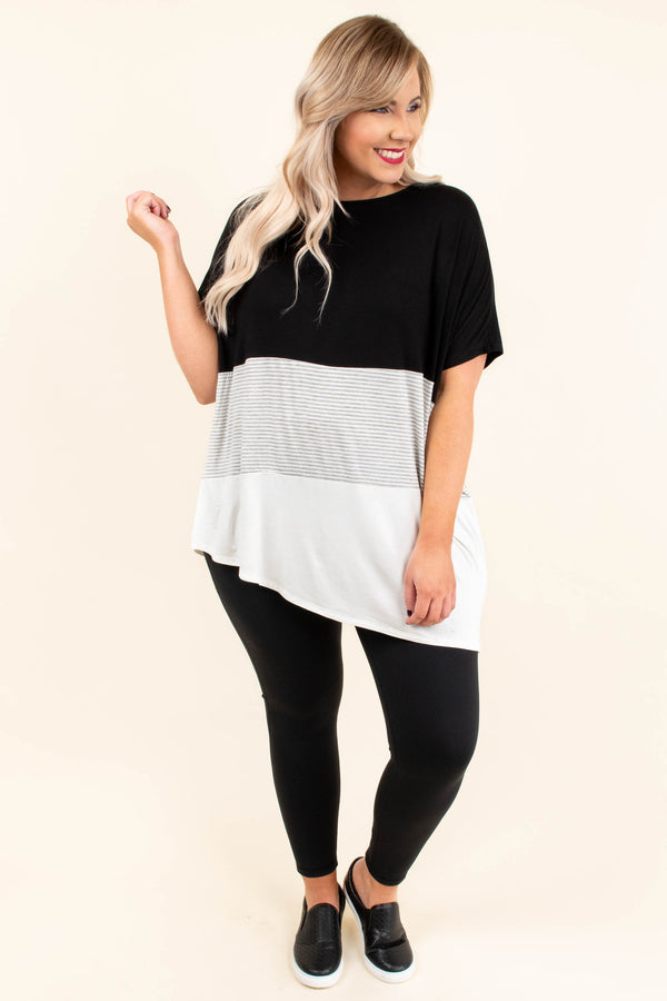 shirt, short sleeve, angled hem, black, gray, white, stripes, colorblock, flowy, comfy
