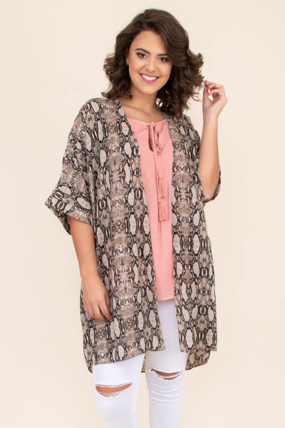 kimono, three quarter sleeve, wide sleeves, long, flowy, thin, taupe, snakeskin, comfy, outerwear