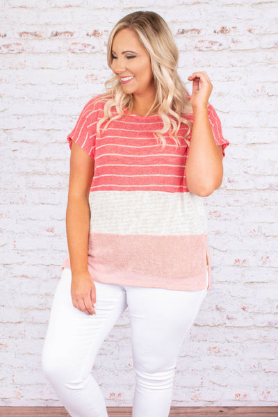 top, short sleeve, knit, pink, ivory striped, ivory, blush, side slit