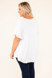shirt, short sleeves, vneck, button down, ruffle sleeves, white, solid, flowy