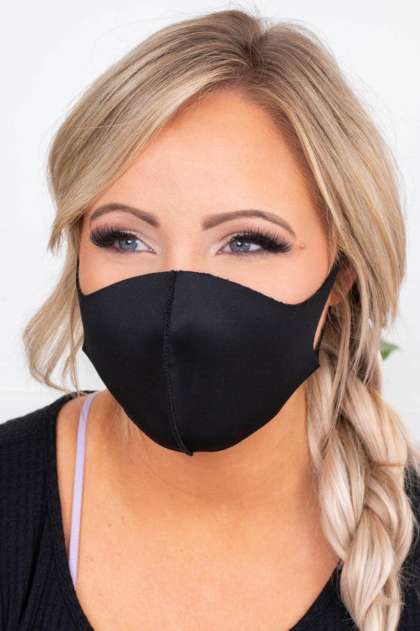 face mask, mouth cover, nose cover, ear loops, black