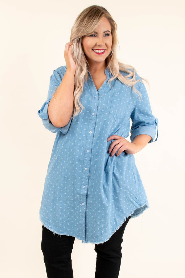 Ready For Friday Tunic, Light Blue