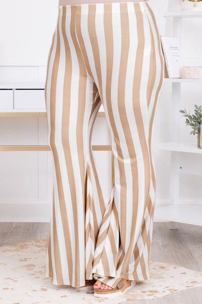 pants, long, flare, elastic waist, khaki, white, striped