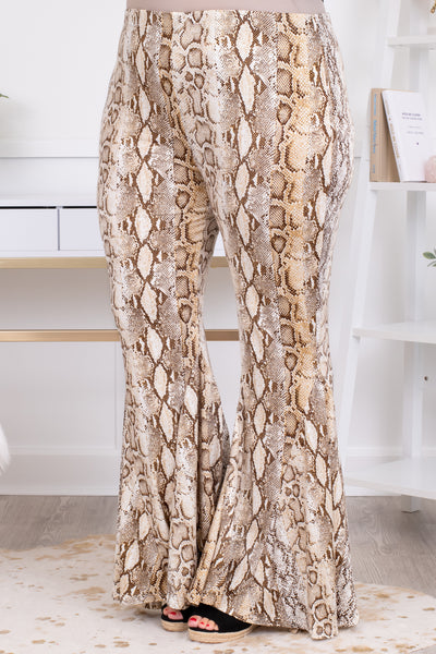pants, long, bell bottoms, flare, taupe, white, snakeskin
