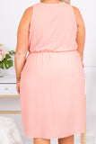 dress, short, sleeveless, vneck, wrap top, fitted waist, pockets, loose, pink, comfy, spring, summer
