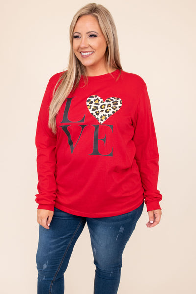 top, tee, red, graphic, long sleeve, love, heart