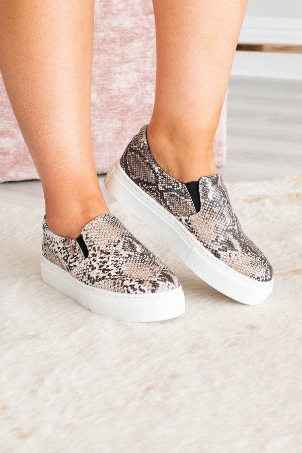 sneakers, slip on, thick sole, snakeskin