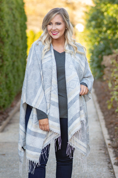 Plan A Trip Shawl, Gray