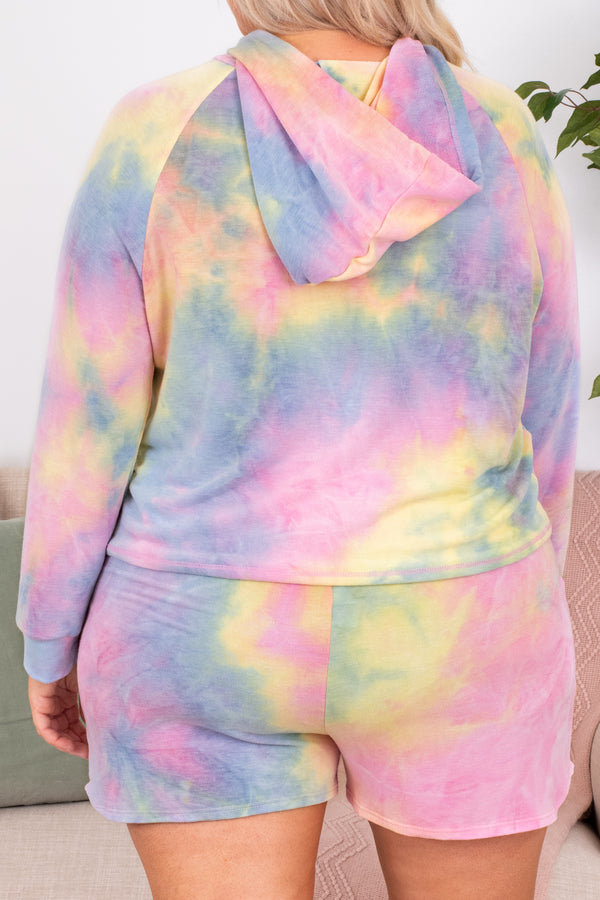 hoodie, long sleeve, cropped, hood, drawstrings, loose, tie dye, yellow, blue, pink, comfy