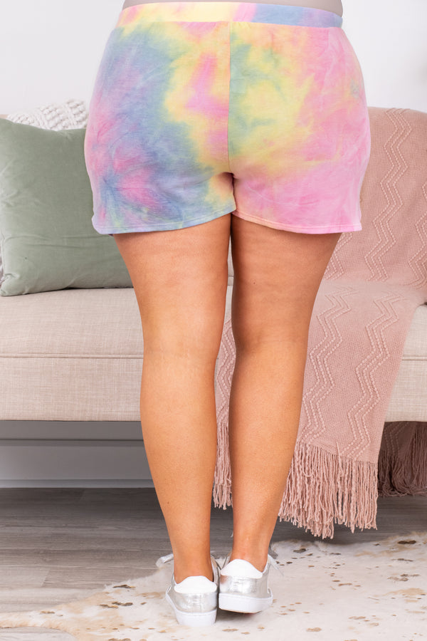 shorts, loungewear, pockets, elastic waist, tie dye, yellow, pink, blue, comfy