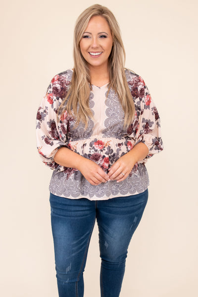 top, casual top, brown, floral, beige, bubble sleeve, flowers