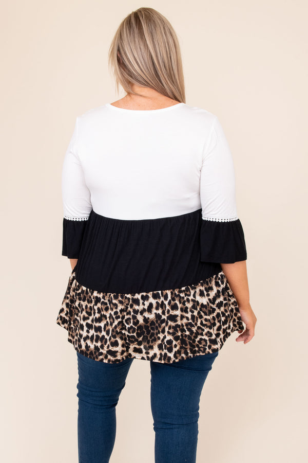 top, casual, babydoll top, white, leopard, colorblock, three quarter
