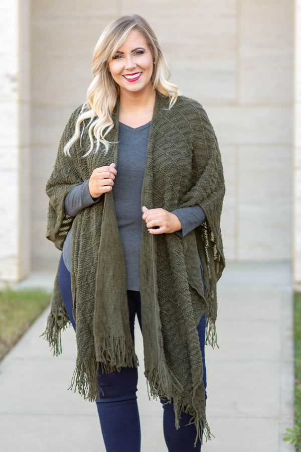 top, kimono, green, solid, half sleeve, shawl, textured, fringe, olive