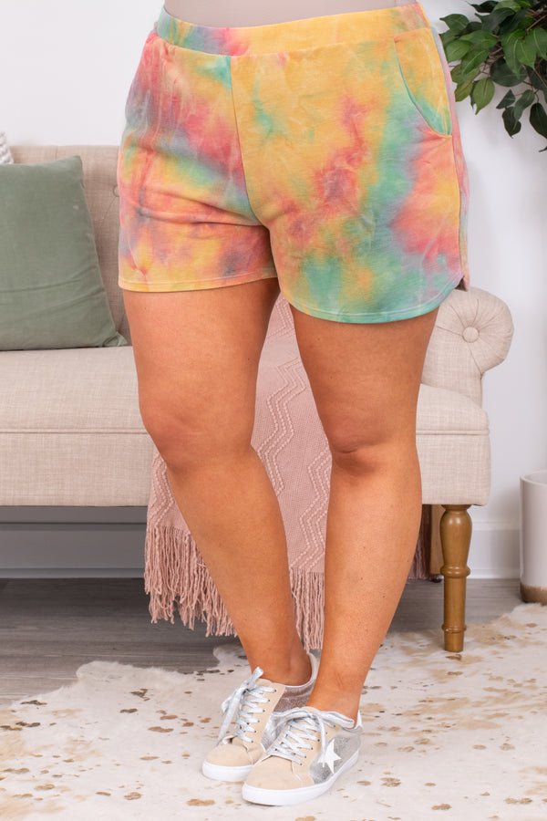 shorts, loungewear, pockets, elastic waist, comfy, tie die, green, orange, red