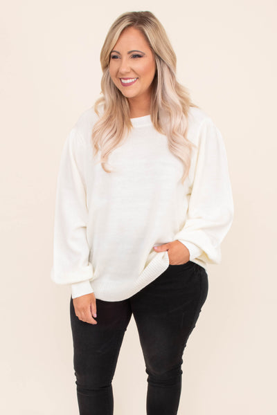 sweater, long sleeve, bubble sleeve, loose, comfy, white, fall, winter