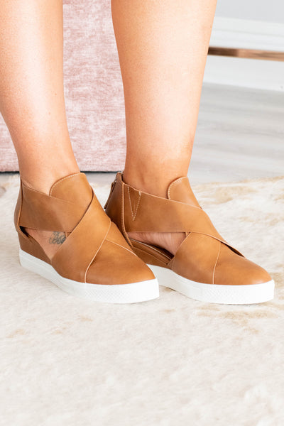 sneakers, wedges, crisscross design, tan, zipper back