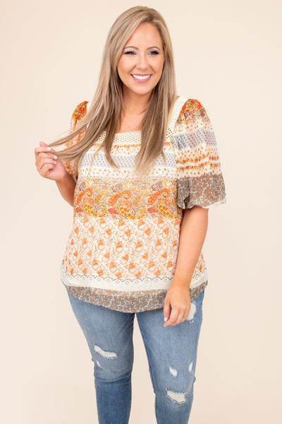 top, casual top, white, cream, floral, bubble sleeve, half sleeve