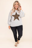 shirt, long sleeve, bubble sleeves, short, gray, graphic, star, leopard, brown, black, comfy