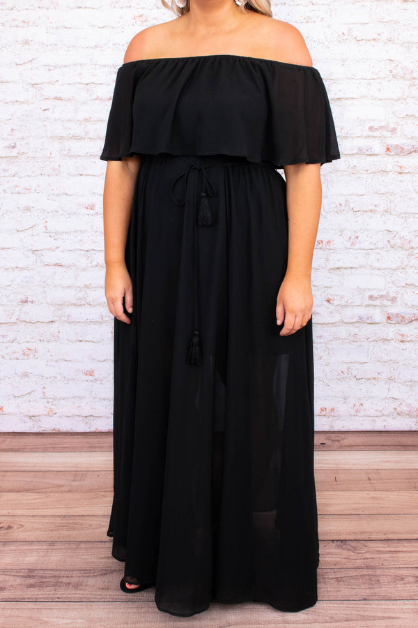 dress, maxi, short sleeve, off the shoulder, ruffle top, tie waist, flowy, black, comfy
