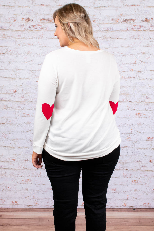 shirt, long sleeve, heart elbow patches, red, front pocket, short, white, comfy