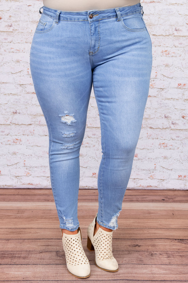 bottoms, jeggings, light wash, blue, long, ripped jeans