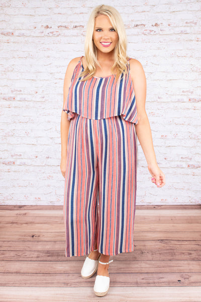 jumpsuit, sleeveless, long pant, flowy top, pink, blue, white, stripes, comfy, spring, summer