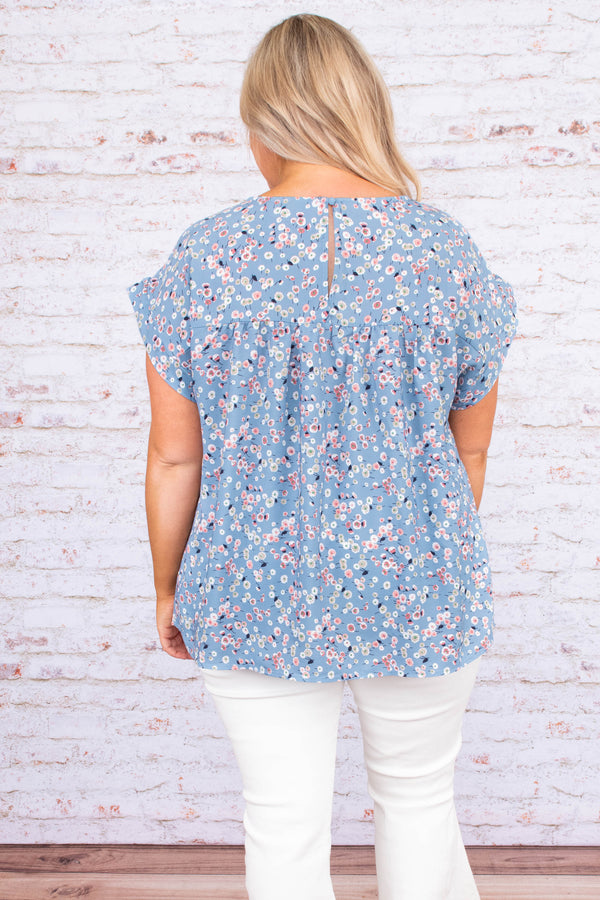 shirt, short sleeve, stitched bust, long, loose, blue, floral, pink, white, green, purple, comfy