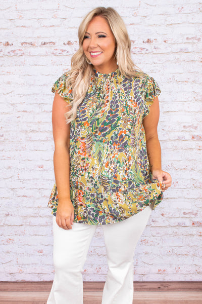 blouse, short sleeve, cap sleeve, high neckline, curved hem, long, loose, floral, green, gray, yellow, orange, white, comfy
