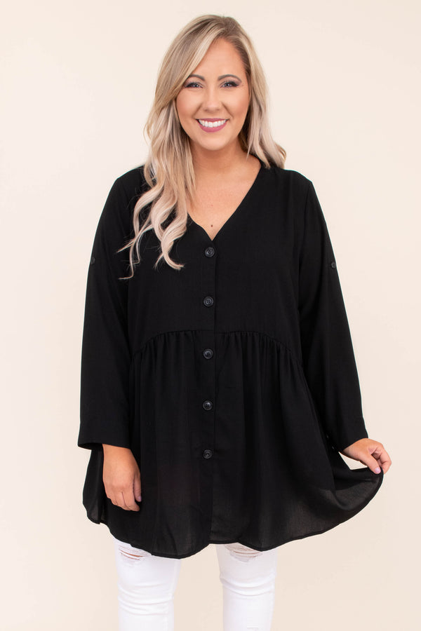 shirt, long sleeve, vneck, long, curved hem, button down, babydoll, flowy, button details, black, comfy