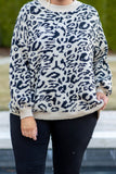 sweater, long sleeve, bubble sleeves, short, black, tan, leopard, comfy, fall, winter
