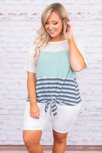 shirt, short sleeve, knotted hem, colorblock, stripes, navy, mint, white, comfy