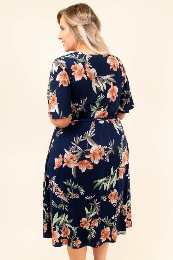 Traveling West Dress, Navy
