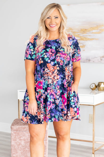 My Heart's Delight Dress, Navy