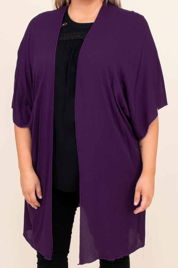 kimono, open front, solid, neutral, purple, flowy, long, above the knee, short sleeve, figure flattering