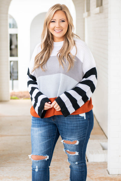 top, sweater, grey, blue, rust, knit, striped sleeve, long sleeve, colorblock
