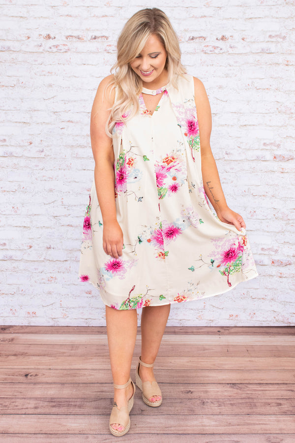 dress, short, sleeveless, vneck cutout, curved hem, flowy, white, floral, pink, green, orange, comfy, spring, summer