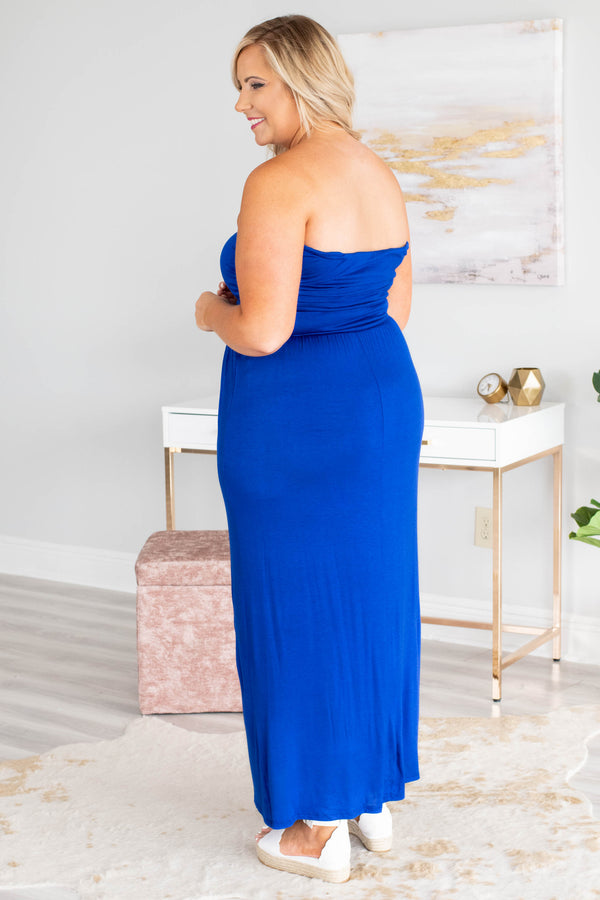 dress, maxi, strapless, fitted top, flowy skirt, blue, comfy
